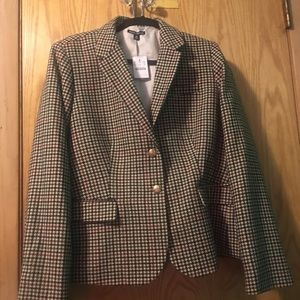 JCrew Red Brown Black and Tan houndstooth Blazer